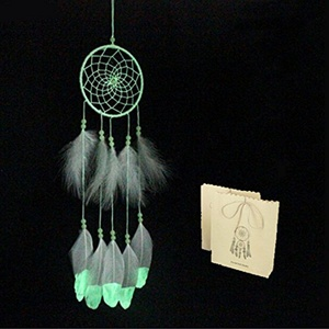Little Chair Glow In The Dark Handmade Feather Beads Dream Catcher Circular Net Home Room Wall Hanging Decor Ornament +Gift Bag