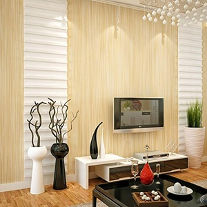 SBWYLT-Modern and simple solid-colored plain non-woven linen vertical stripes living room bedroom wallpaper , 10 meters *0.53 meters