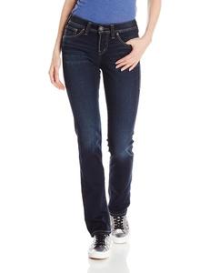 Silver Jeans Women's Suki High Rise Straight Leg Jean, Dark Wash Indigo, 34x32
