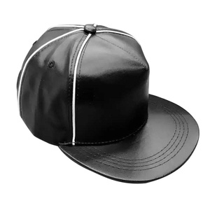 Chinatera Women Men PU Leather Baseball Cap Striped Adjustable Plain Hip-hop Hat (Black)