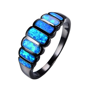 CHIC Geometric Design Blue Fire Opal Ring Black Gold Ring Vintage Wedding Rings Fashion Jewelry 9.0