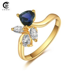 delatcha Jewelry CZ Ring Wedding Ring Bridal Crystal Gold Plated Dress Accessories Holiday CWEEL
