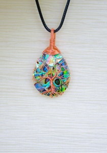 Tree of Life copper wire wrapped Abalone pendant Gift For Her Tree-of-Life