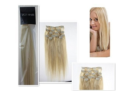 20'' 100% Real Human Hair 7Pcs Clip In Human Hair Extensions Straight Hair Color 60 Platinum Blonde 70g Beauty Design Salon by ZCF HAIR