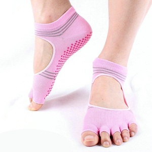 Cotton Professional Yoga Socks Non Slip Grip with Silicone Dots Toeless Exercise Massage Fitness Socks (pink)