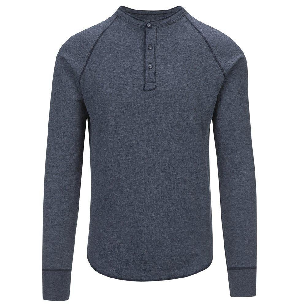 Save Khaki Men's L/S Pointelle Henley Shirt SK013-PT Navy SZ M