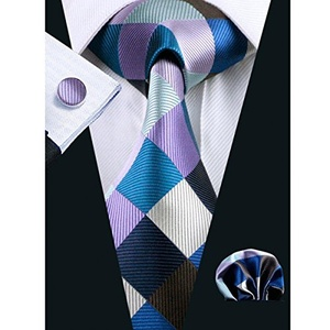 Hi-Tie Men's Fashion Checks Tie Set with Hanky Cufflinks