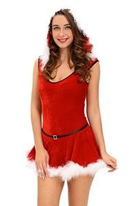 Dokotoo Womens Soft Fur Trim Red Santa Teddy and Skirt Christmas Costume