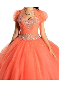 Gorgeous Bridal Long Ball Gown Crystals Prom Quinceanera Dress with Jacket- US Size 4