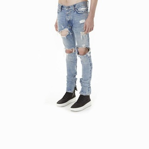 Mens Punk Hipster Frayed Ripped Holes Straight Denim Jeans Pants Street Wear