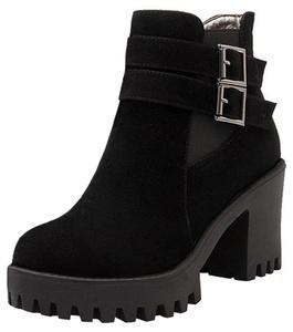 Summerwhisper Women's Retro Faux Suede Buckled Straps Round Toe Side Zipper Block High Heel Platform Short Boots Black 6.5 B(M) US
