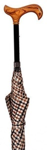 Height Adjustable Walking Stick Umbrella Cane with Checked 100cm Canopy by Classic Canes