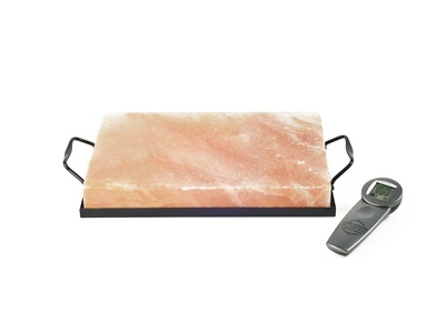 Charcoal Companion CC6562 Himalayan Salt Plate Salt Holder and Infrared Thermometer Set, 8