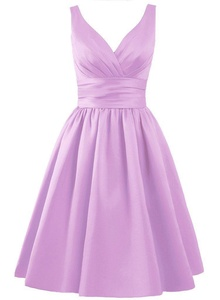 Angel Formal Dresses Women's V Neck Pleated Satin Formal Prom Dress(12,Lilac)
