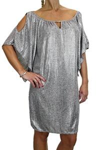 ICE (3009-1) Metalic Dress Top Pewter Silver Peep Shoulder Lightweight