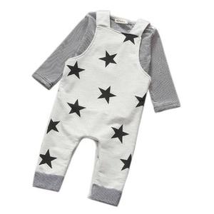 Boys Outfits,Leegor Baby Cute Pants Sets Stripe T-shirt Tops+ Bib Pants (70, Gray)