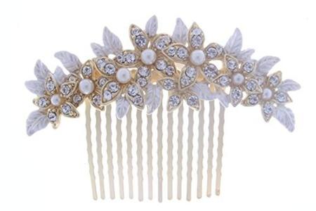 KimmyKu Vintage Gold Crystal Pearl Side Hair Combs Clips Bridal Headpiece Wedding Accessories by kimmyku