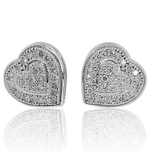 10k White Gold Heart Earrings Women 0.15Cttw Diamonds Screw Back 8mm Wide(i2/i3, i/j)