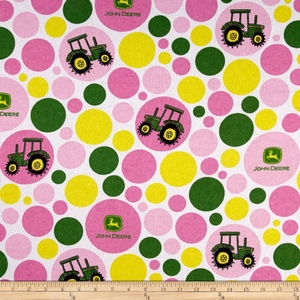John Deere Flannel Polka Dot Tractor Juvenile Pink Fabric By The Yard