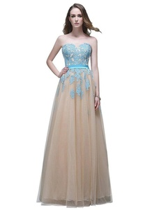 JoyVany Women's Long Party Dresses 2016 Lace Pageant Gowns Champagne/Blue Size Custom
