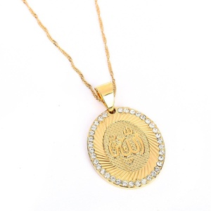 24K Gold Plated Mulsim Cubic Zirconia Brass Allah Pendant Necklace Jewelry