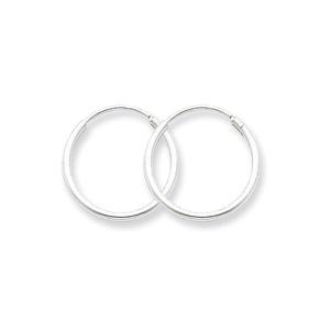 .925 Sterling Silver 16 MM Classic Endless Hoop Earrings