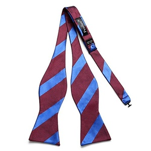 PenSee Mens Fashion Self Bow Tie Exquisite Woven Silk Burgundy & Blue Stripe Bowties