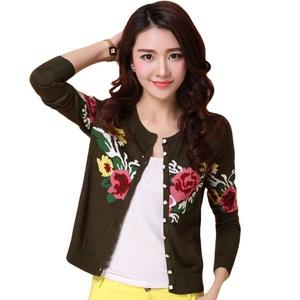 Rain's PanWomen Embroidery Button Down Long Sleeve Thin Knit Cardigan Sweater (US XS=Asia M)