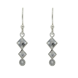 Tomas Sterling Silver Clear Crystal Tri-Stone Hook Earrings