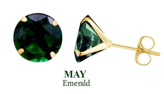 10k Yellow Gold 10mm Round May Green Emerald Birthstone Stud Earrings