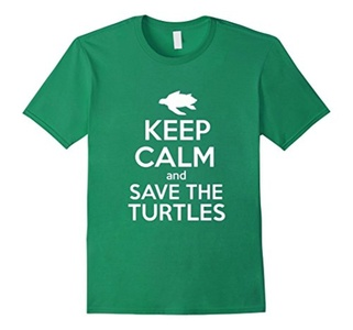 Men's Keep Calm And Save The Turtles Shirt XL Kelly Green