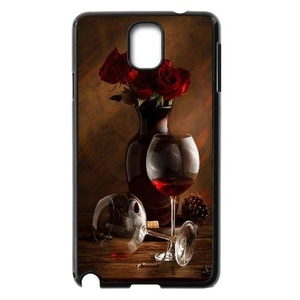 [Luo diedie]Call Phone Case for Samsung Galaxy note 3 Black with Red Wine Glass Series of Pattern on