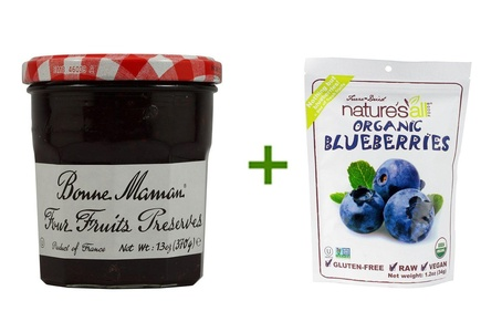 Bonne Maman Preserves Four Fruits -- 13 oz, ( 4 PACK ), Nature's All Foods Organic Freeze-Dried Raw Blueberries -- 1.2 oz