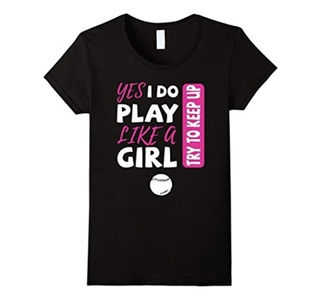 Women's Yes I Do Play Like A Girl Softball T-Shirt Large Black