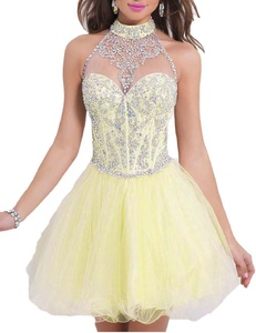 Favors Women's Beading Halter Tulle Short A Line Homecoming Prom Dresses Yellow 24W