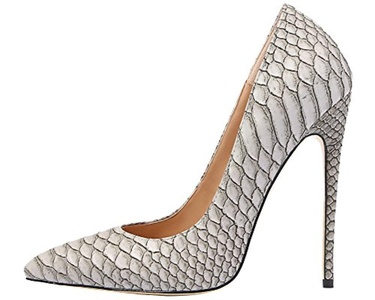 Maovii Women's Elegant Spike High Heel Pointed Toe Snakeskin Scaly Party Court Shoes 15 M US Grey