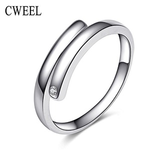 Slyq Jewelry Trendy Sliver Plated Ring Cubic Zirconia Wedding Holiday Engagement Jewelry Accessories Fashion