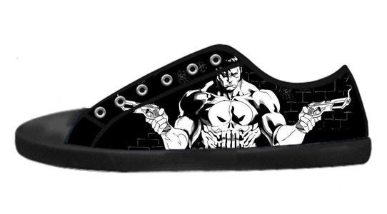 Custom Imported Punisher Canvas Shoes Men's Low-Top Lace-up Rubber Black Casual Sneakers-10M(US)