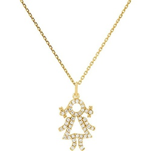 14kt Yellow 1/5 CTW Diamond Baby Girl Necklace