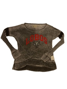New Mexico Lobos Retro Brand WOMENS Gray Burnout LS Scoop Neck T-Shirt (S)
