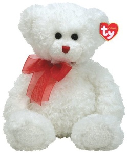 Hollibear - White Bear with Red Ribbon by Ty Hollibear - White Bear with Red Ribbon