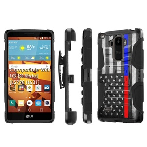 LG [G Stylo] Armor Case [SlickCandy] [Black/Black] Heavy Duty Defender [Holster] [Kick Stand] - [Fire Police Red Blue Line] for LG [G Stylo] [LS770 H631]