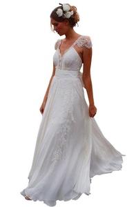 Rosebelles 2016 Beach Wedding Dress V Neck Backless Chiffon Bridal Gown Ivory, 6