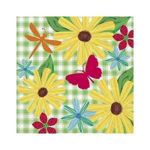 Floral 'Garden Check' Lunch Napkins (16ct)