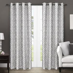 Exclusive Home Trike Geometric Thermal Grommet Room Darkening Top Window Curtain Panel Pair, 54x108, Black Pearl