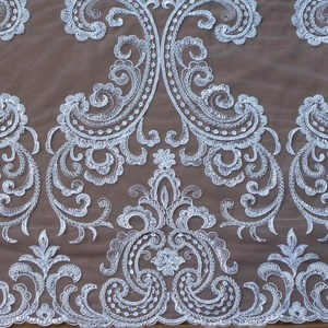 Super heavy beaded black/ off white wedding dress lace fabric 51'' width by yard (off white)