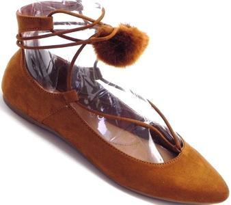 Women's Pointy Toe Pom Pom Posh Tie Up Flat Pumps Sandal Shoes 6-10