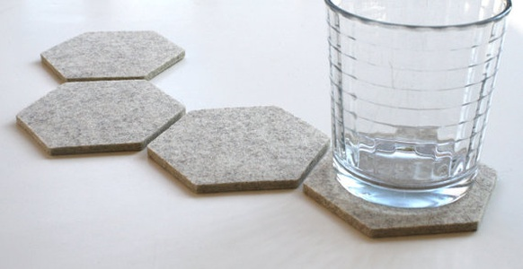Modern Minimalist Hexagon Drink Felt Coasters Set