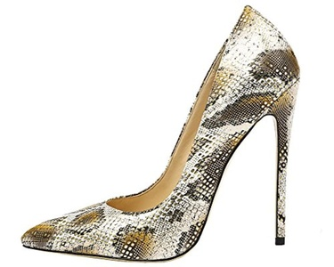 Maikool Women's Sexy Big Size Pointed Toe Colorful Snakeskin High Heels Court Shoes For Party Dress 6 M US Gold