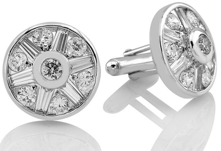 Mens Sterling Silver .925 Original Design Cufflinks, Large Round with Channel set Fancy Tapered Baguette and Classic Round cut Cubic Zirconia (CZ) Stones High Polished and Rhodium Plated, One of a kind Fancy Design, with Secure Solid Hinges, Sleek and Stunning, measuring 22mm Round.